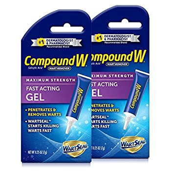 Compound W Wart Remover Fast Acting Gel Maximum Strength Salicylic Acid 0.25 oz 2 Pack