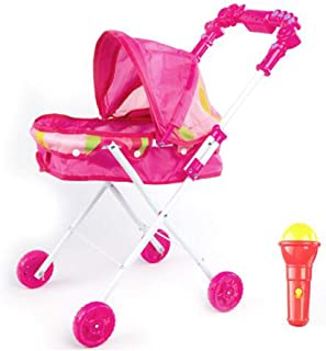 LHY NEWS Foldable Doll Stroller Trolley, Multifunctional Doll Pram with Music and Light for Kids Baby Educational Toys