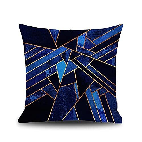 Banemi Funda Cojin 40X40cm Moderno, Geometría Lino Oro Azul para Cama, Oficina, Café, Exterior