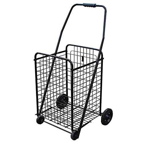 IREANJ Carrito de la compra con ruedas giratorias plegable y plegable, carrito de la compra ligero, carrito de la compra (color, tamaño: tamaño libre)
