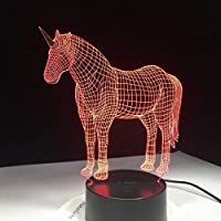ユニコーン3D Ledナイトライト、7色ライト、ホームデコレーションランプ用素晴らしい視覚化錯覚素晴らしい