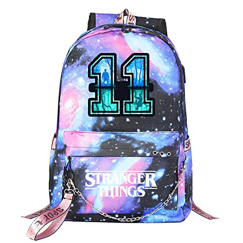 FGDJTYYJ Mochila Stranger Things Escolar, Stranger Things 3 Mochila de Impresión 3D Stranger Things Bolsa para Mujer Hombre Portátil Backpack Casual Hombro Mochila Adolescentes con USB Puerto,11