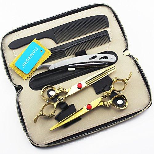 JIESENYU Professionelle Friseurschere Friseurschere, japanisches Haarschneidenset aus Edelstahl, mit Rasiermesser-Ledertasche für 6 Zoll 17,2 cm