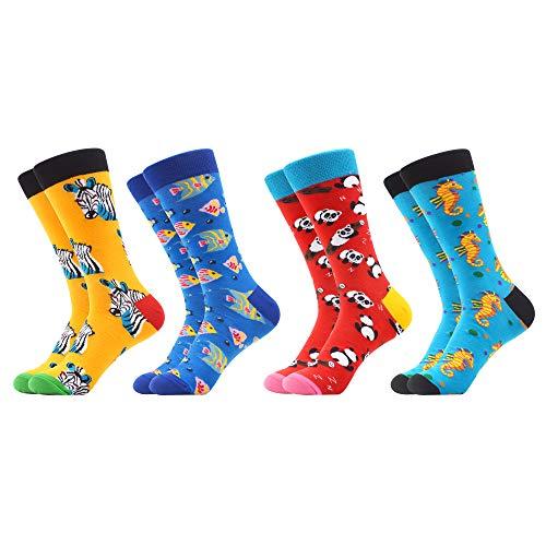 WeciBor Herren Bunt Beiläufig Gemusterte Socken Gekämmte Baumwolle Lustig Neuheit Crew Socken (4 Paar Tier)