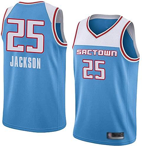 jiaju Ropa WO Nice Men's Basketball Jerseys, Sacramento Reyes # 25 Justin Jackson NBA Fans Uniformes de Baloncesto Suelte Chalecos Transpirables Camisas Tops Casuales, Azul Claro, L (175~180cm)