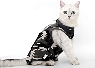 Yu-Xiang Camouflage Cat Recovery Suit Kitty Sterilization Costume Pet Surgery Wear Weaning Clothes Anti-Licking (M)