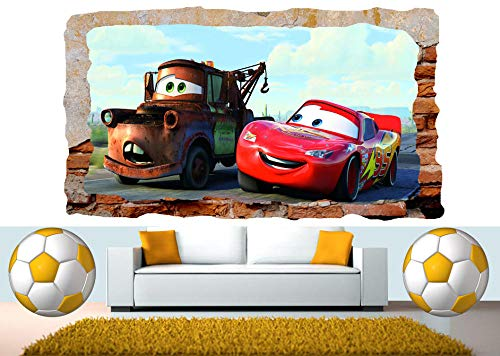 Wall Stickers Car Removable Mural 3D Smashing Wall View Sticker Poster Vinyl 60x90cm
