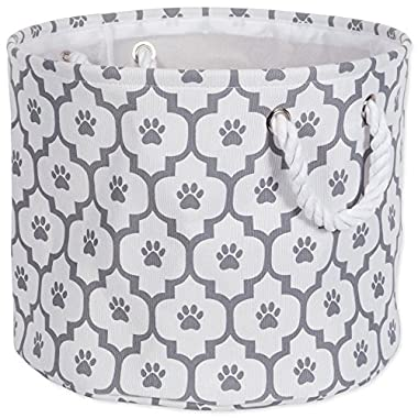 Bone Dry DII Medium Round Pet Toy and Accessory Storage Bin, 15 x 12(H), Collapsible Organizer Storage Basket for Home Décor, Pet Toy, Blankets, Leashes and Food-Gray Lattice Paw Print
