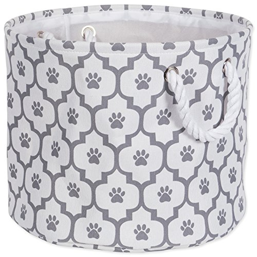 Bone Dry Paw Print Collapsible Polyester Pet Storage Bin, Round Small - 12 x 12 x 9', Lattice Gray
