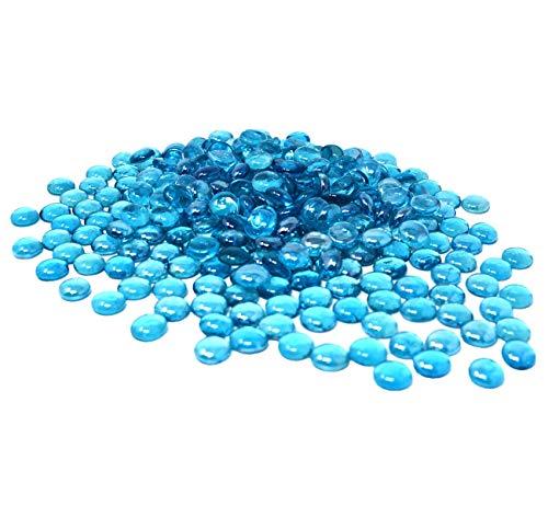 TSY TOOL 3 Lb (300PCS) Flat Glass Marbles Ocean Blue Color Glass Gems Pebbles Stones Marbles Vase Filler Accents and Crafting Aquarium Decor