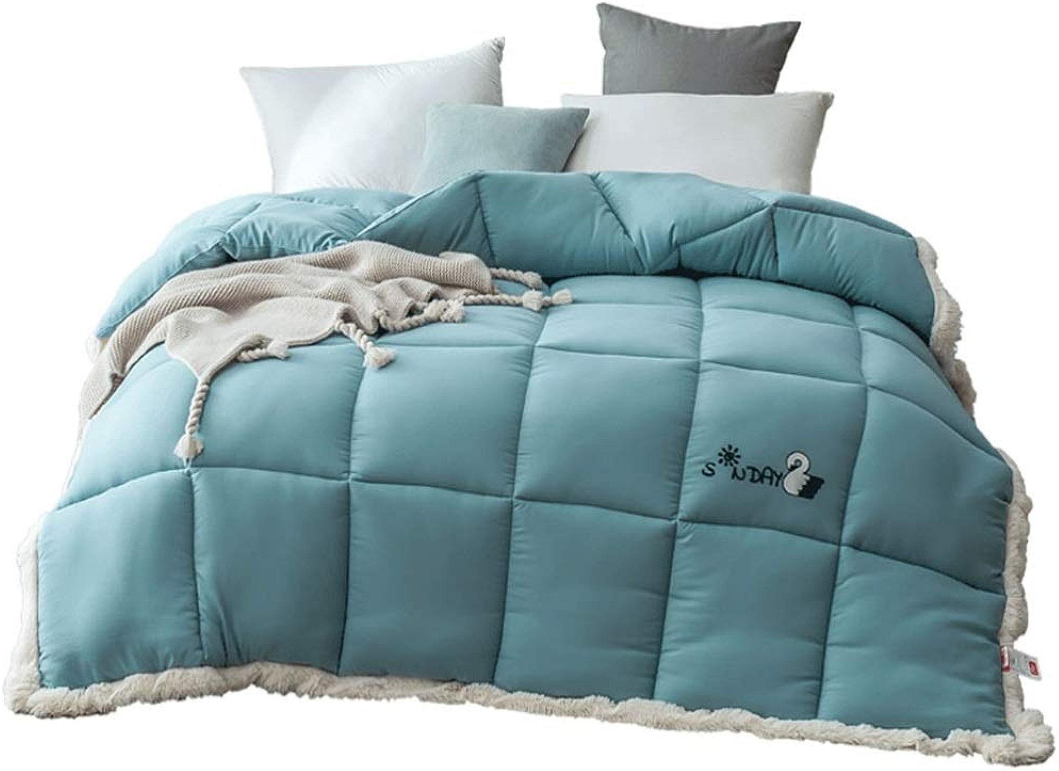 Couette Bleue 100% Polyester Couette Chaude épaisse Anti-Allergique Unique Double dortoir étudiant Toutes Saisons