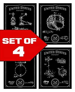Wallables Black Drums Patents Decor Set of Four 8x10 Vintage Drum Themed Decorative Prints Great for Music Studio Bachelor pad Office Living Room.