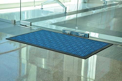 Kempf Water Retainer Entrance Mat, Indoor Outdoor Rubber Rug, Moisture Trapping, Absorbent Mat, 2 by 3-Feet, Blue