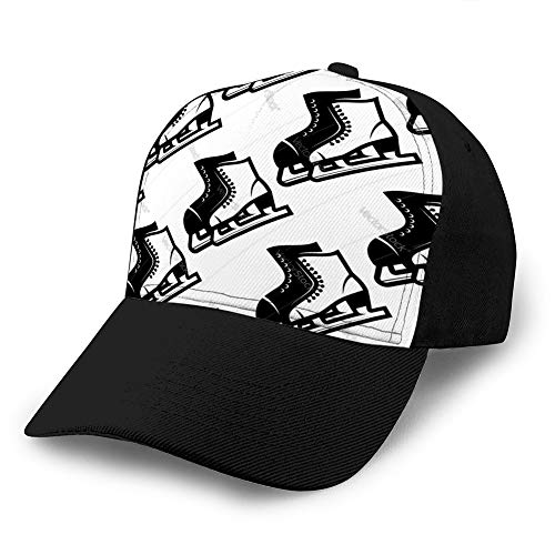 hyg03j4 Classic Baseball Cap Hat Baumwolle Soft Adjustable Size nahtloses Muster von Schlittschuhen Plain Cap