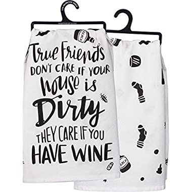 Primitives by Kathy PBK Two-Sided Kitchen Towel - True Friends Have Wine