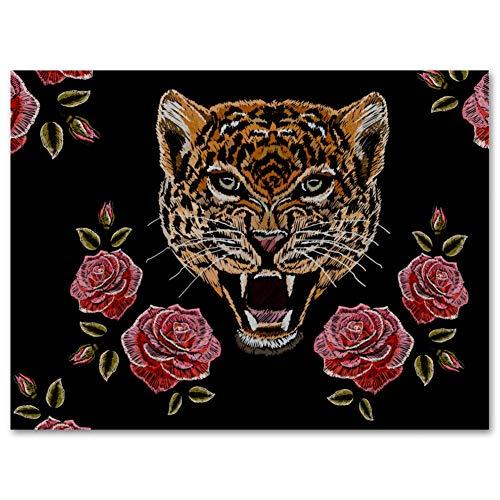 MEITD Leinwanddruck mit Rosen, Leopardenmuster, rahmenlos, Ölgemälde, Bild auf Leinwand, Wandkunst, fertig zum Aufhängen, für Schlafzimmer, Küche, Heimdekoration
