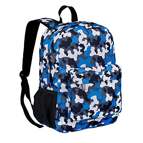 Wildkin 16 Inch Kids Backpack for Boys & Girls, 600-Denier Polyester Backpack for Kids, Features Padded Back & Adjustable Strap, Perfect for School & Travel Backpacks, BPA-Free (Blue Camo)