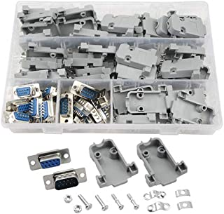 XLX 20Pcs(10Pair) DB9 9 Pin Female to Male Solder Type Connectors and 20 Set Gray Plastic Hoods Complete Set of Crimp Conn...