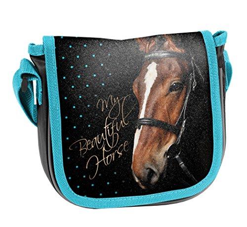 Ragusa-Trade Pferde Fan Mädchen Kinder - Handtasche Schultertasche Umhängetasche (17), schwarz/blau, 17 x 15 x 4 cm