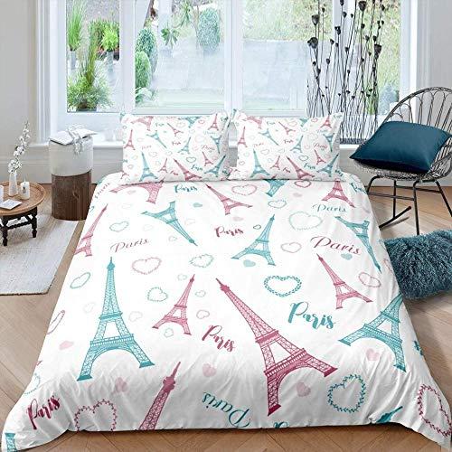 Rmooaceo® Textile De Maison 3D - Chic Paris Theme Pink Romantic - (Roi: 240 X 220 Cm) Ensemble De Literie Ensembles De Housse De Couette pour Enfants