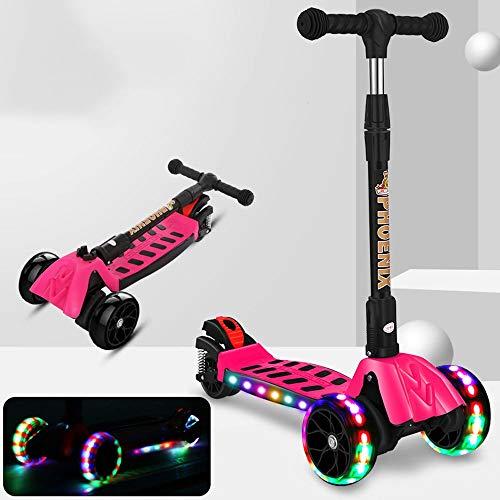 Lihgfw Scooter Kinder Folding Stoßdämpfer Vier-Rad-Blitz-Rad, einstellbare Höhe, Geeignet for Jungen und Mädchen 3-10 Jahre alt (Color : Rosa)
