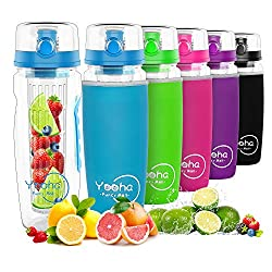 YOOHA drinking bottle with 1L fruit container, leakproof, hinged lid, double handle, BPA-free infusion sports bottle, with a useful fruit cutter. (Bottle, blue)