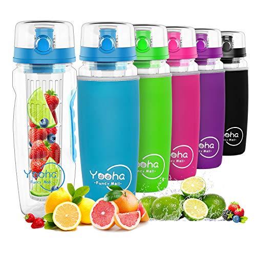 YOOHA trinkflasche mit früchtebehälter 1L, auslaufsicher, Klappdeckel, Doppelgriff, BPA-freie Infusionssportflasche, mit einem nützlichen Fruchtschneider. (Flasche, Blau)