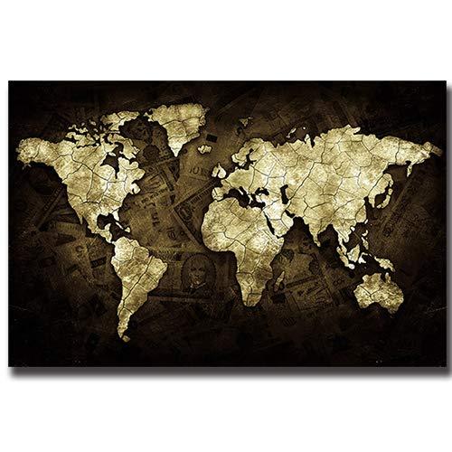 Geiqianjiumai Zwart en wit patroon wereldkaart poster en canvas print olie schilderij klassieke foto woonkamer decoratie frameloze schilderij
