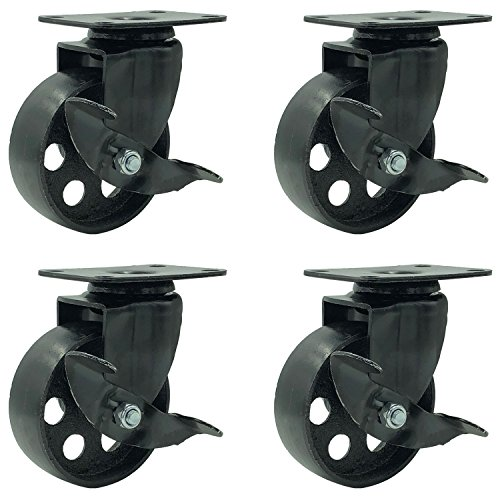 FactorDuty 4 All Black Metal Swivel Plate Caster Wheels w/Brake Lock Heavy Duty High-Gauge Steel (3.5' with Brake)