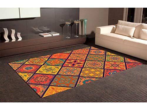 OEDIM Tapis Carpette en PVC Motifs Mosaïque Équerre Imitation Carreaux de Ciment Imitation Carrelage Multicolore | 95 cm x 200 cm | Déco Maison