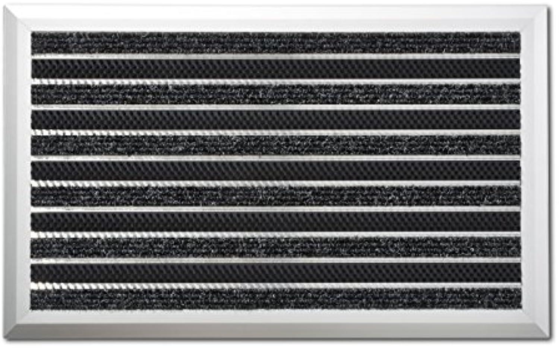 Casa pura Fumatte Optimum mit Aluminiumrahmen  Teppicheinlage + Bürsten  Anthrazit  45 x 75 cm