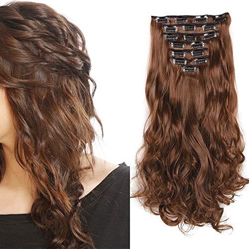 Extension a Clip Cheveux Naturel Ondulé Bouclés Extensions Cheveux Clips 8 Bands Clip in Hair Extension Curly Wavy Postiche (Marron clair)