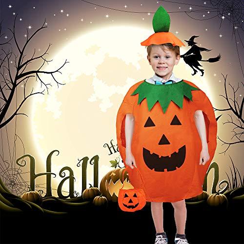 AISHNA Halloween Kostüm,Kürbis Kostüm Anzug süß unisex mit,Lustige Kürbis Cosplay Party Kleidung,Karneval lustig Party Cosplay Kleidung.Geeignet für Kinder von 4-15 Jahren Kürbis Kostüm.