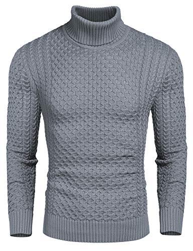 Coofandy Rollkragen Herren Strickpullover Pullover Slim Fit Winter Basic Sweater Mischen, Grau, M