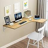 LIANWANG Corner Folding Computer Table,Convertible Study Desk, Drop-Leaf Wall-Mounted Dining Table Computer Table Desk for Home, Office (Light Walnut)