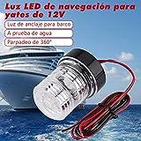 Luce di ancoraggio per barche marine Navigazione per yacht Luce a LED, Tutto 360 ° 12V bianco Impermeabile rotondo LED Luce di ancoraggio Lampada di segnalazione Lampada ad arco Luci della cabina di p