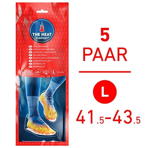 THE HEAT COMPANY Sohlenwärmer - EXTRA WARM - Wärmesohlen - 8 Stunden warme Füße - sofort einsatzbereit - luftaktiviert - rein natürlich - Größe Large: 41,5-43,5-5 Paar