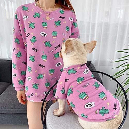 WOOAI Otoo Mascotas Perros Ropa Estampado Pet Ropa para Perros pequeos medianos Disfraz Francs Bulldog Camiseta Algodn Perro Hoodie, Lila, S slo para Mascotas