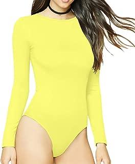 Women's Round Collar Long Sleeve Elastic Bodysuit Jumpsuit