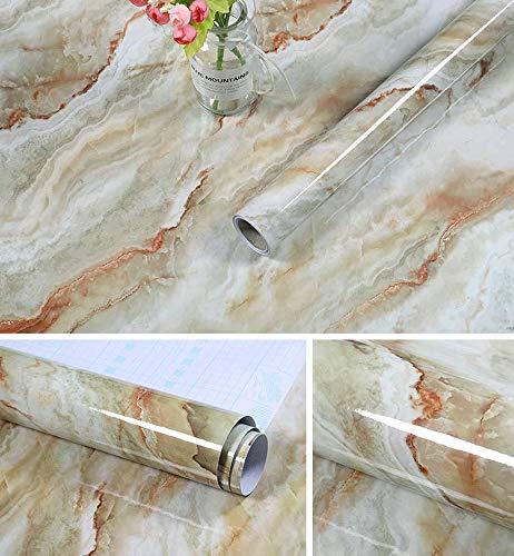 AIKENR Marmorpapper, självhäftande dekorativ granit vinylfilm möbler bänk pinne vattentät, för vardagsrum TV-vägg och heminredning