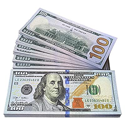 100PCS Movie Prop Money Full Print Sided Play Money for Movies, Music, Tv, Videos from GOKCEN's