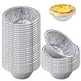 WXJ13 300 platos de papel de aluminio para tartas, bandejas de papel de aluminio para magdalenas, platos de flan desechables, bandejas de papel de aluminio, mini moldes para tartas de huevos