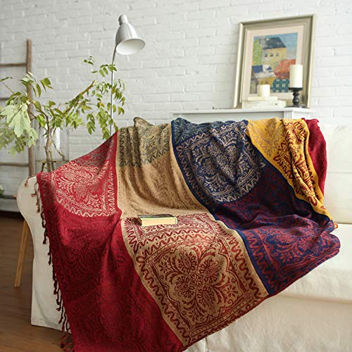 ele ELEOPTION Chenille Throw Blanket, Jacquard Tassels Throw Blanket Sofa Chair Cover Decorative for Bed Couch Soft Chair, Folk Tribal Pattern (Red, 220 x 250 CM)
