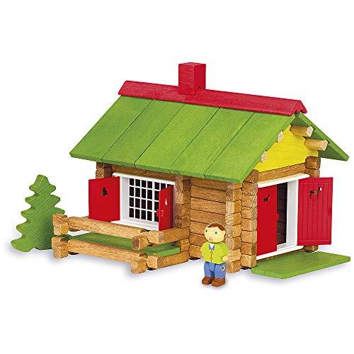 Jeujura J8002 100 stukjes mijn houten chalet, in kartonnen doos, meerkleurig