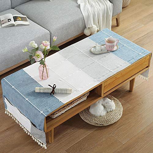 YXDZ Table Basse Nordique Table À Manger Tissu Coton Plaid Japonais Rectangulaire TV Comptoir Tissu Bureau Étudiant