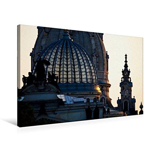 Premium Textil lienzo 75 cm x 50 cm horizontal, de vista al arte alto, escuela y mujer de Dresden, cuadro en bastidor, imagen sobre lienzo auténtico, impresión en lienzo (CALVENDO Orte);Calvendo Orte