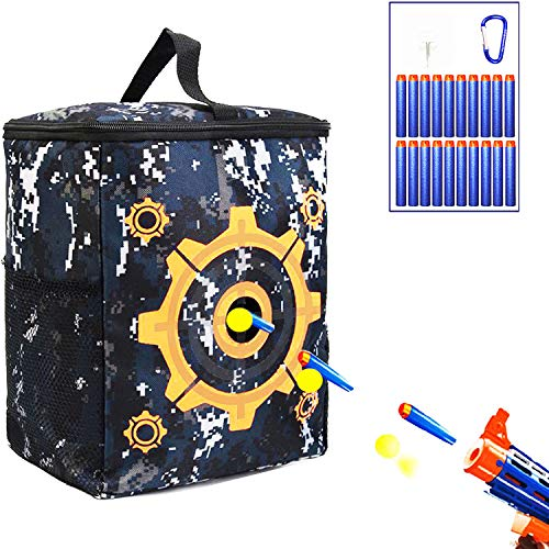 Target Pouch Storage, Carry Equipment Bag with 20 Bullets Darts & 2 Hooks for N-strike Elite/Mega/Rival Series