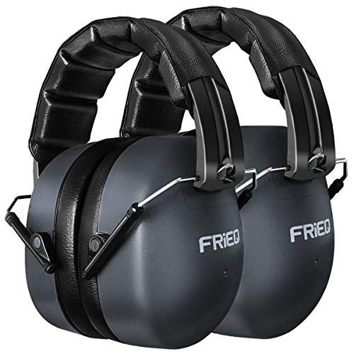 FRIEQ Noise Reduction Ear Muffs 37 dB Shooters Hearing Protection Headphones with LRPu Foam for Shooting, Music & Yard Work 2 Pack (Space Grey)