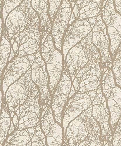 Rasch Tapeten Vliestapete (floral) Beige Gold 10,05 m x 0,53 m Tapetenwechsel 633245 Tapete, 10.05 0.53 m