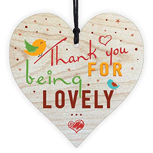 Resmoni Thank You For Being Lovely - Handmade Wooden Perfect Hanging Heart Plaque-Sign Gift for Your Best Friendship